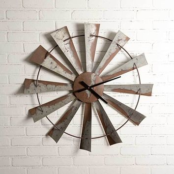 "Rustic Farm Country Style 32"" Windmill Wall Clock Hanging Decorative Sculpture Decor"
