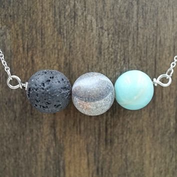Amazonite Turquoise Black Lava Stone Aromatherapy Necklace Essential Oil Diffuser Necklace