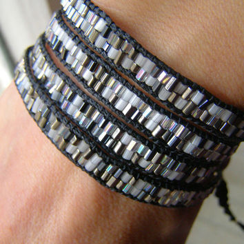 Wrap Bracelet by Lola Chá. Black Cord & tiny bugle Bead Mix. Chan Luu inspired. Fully Hand Made. Free Worldwide Shipping .