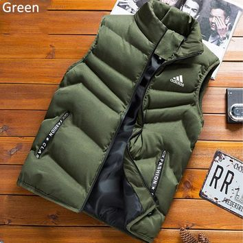 ADIDAS autumn and winter new men's outdoor running sports vest vest jacket down jacket Green