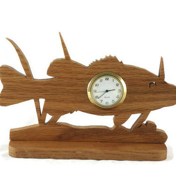 Fish In The Sea Scene Desk Or Shelf Clock Handmade From Oak By KevsKrafts