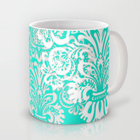 Tiffany Blue and White Damask Mug by Kimpressions