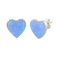 Sterling Silver Opal Gemstone Earrings Iridescent Periwinkle Green 11mm Heart