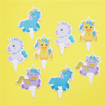 72pcs Baby Unicorn Horse baby candy bar cupcake toppers pick baby shower kids birthday party supplies fruit picks Event Supply