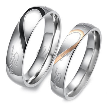 Chic Heart Shape Matching Titanium Promise Ring for Couple 316L Stainless Steel Wedding Bands Rings = 1929719108