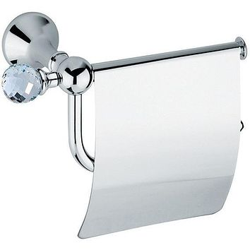 BA Folie Swarovski Wall Toilet Paper Holder Tissue Dispenser With Lid - Brass