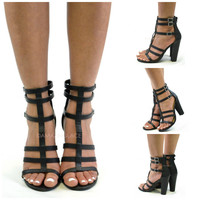 SZ 6 Fortuna Black Gladiator Heels