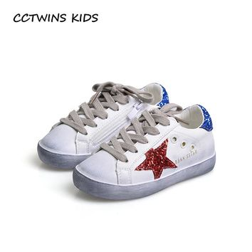 CCTWINS KIDS 2017 Toddler Fashion Sport Lace-Up Shoe Baby Girl Kid Glitter Sneaker Children Pu Leather Breathable Trainer F1830