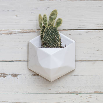 Geometric Wall Planter White