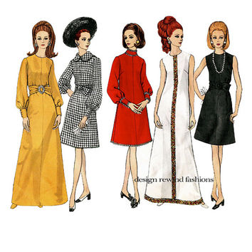1960s VOGUE COCKTAIL DRESS Pattern Maxi Evening Gown A-Line Day Dress Vogue 1961 Basic Design Vintage Womens Sewing Patterns Bust 38 Size 16