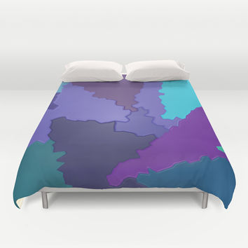 Blues and Purples Puzzle Patchwork Duvet Cover by Distortion Art