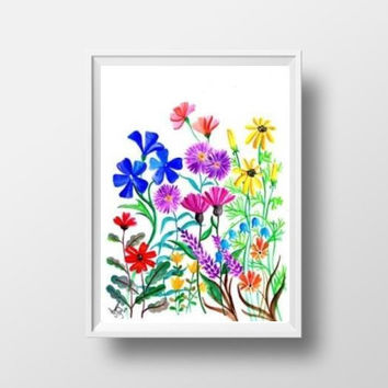 Spring wild flowers watercolor painting wall art print poster decor nursery floral inspiration colorful abstract whimsical red blue orange