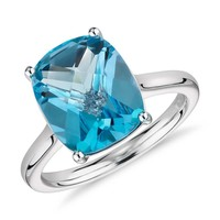 Blue Topaz Cushion Cut Ring in 14k White Gold (11x9mm) | Blue Nile