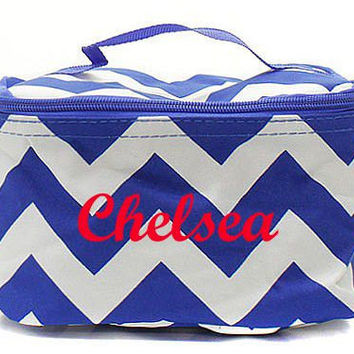 Bridesmaid Gift Royal Blue Chevron Monogrammed Cosmetic Bag  Chevron Cosmetic Bag  Monogrammed Makeup Bag