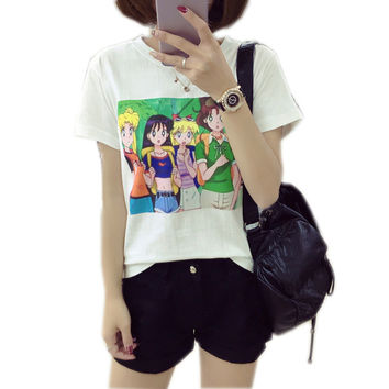 Sailor Moon Kawaii T-Shirt Women Harajuku Print Top