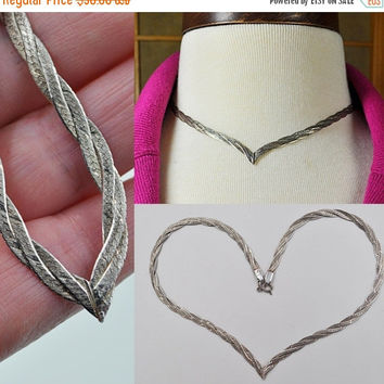 ON SALE Vintage Italy 925 Silver Braided V Necklace, Sterling, Chain, 3 Three Strand, Herringbone, Choker, Classy Lady! #b007
