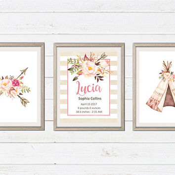 Custom Boho Tribal Baby Girl Birth Stats Printables - Personalized Printable Art - Watercolor Nursery Print - Tribal Boho Floral Printables