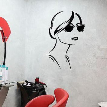 Wall Decal Sexy Girl Fashion Sunglasses Beauty Salon Vinyl Stickers Unique Gift (ed243)