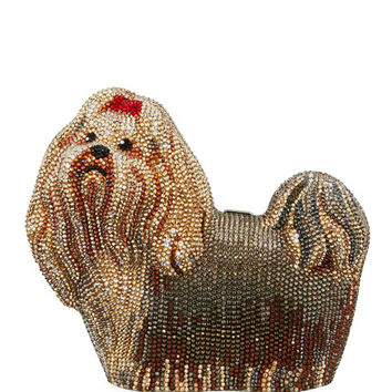 Judith Leiber Couture Charlie Yorkie Dog Perla Clutch Bag
