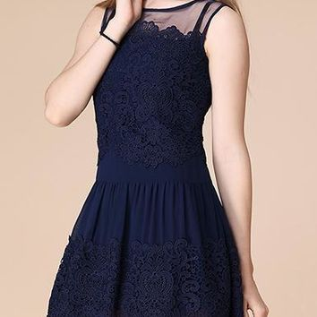 Mini Dress - Lace / Fit and Flare / Mesh Shoulder