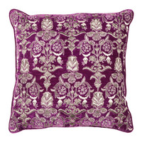 heirloom angel velvet embroidered pillow - raspberry - ABC Carpet & Home
