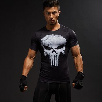 3D Printed Punisher Skull T-Shirts Men Short Sleeve Fitness Tight Tops Costume