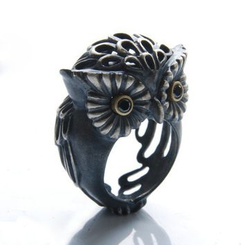 $350 Owl Puhu Ring by SeldaOkutan on Etsy