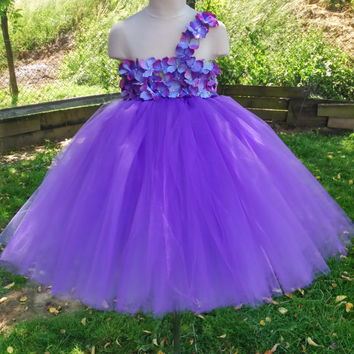 Purple flower girl tutu dress – wedding tutu dress – birthday tutu dress – purple tutu dress – pageant dress – hydrangea tutu dress