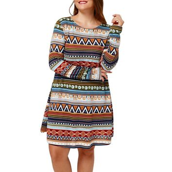 Women Plus Size Retro Printed Bohemian Casual Vintage Party Casual Long Sleeve  Mini Dress  Female Summer Dress  A20