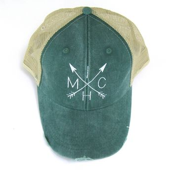 Michigan Hat - Snapback Trucker Hat - Michigan arrows White on Green