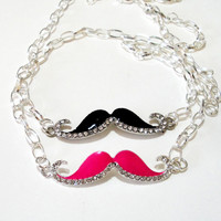 Mustache Silver Pink/ Black Necklace, Silver Rhinestone Mustache Pendant Sideways Chainmaille Necklace, Choose your color.