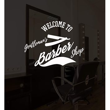 Vinyl Wall Decal Barber Shop Lettering Logo Hair Salon Decor Stickers Mural Unique Gift (ig5231)
