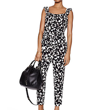Kate Spade Butterfly Crepe Jumpsuit Black