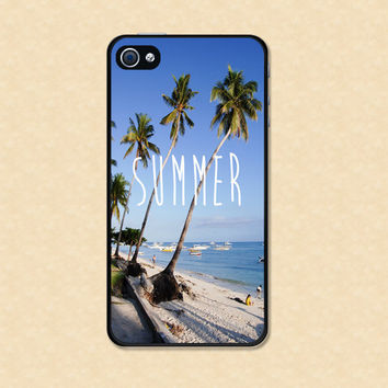 Iphone case Summer Beautiful Beach Sand Palm Trees Iphone 4 case cool awesome Iphone 4s case