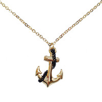 Nautical Collection Black Anchor Necklace
