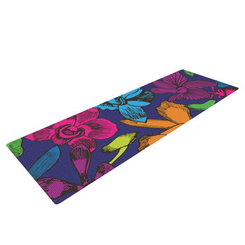 "Yenty Jap ""Lovely Orchids"" Multicolor Floral Yoga Mat"