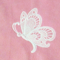 18 inch doll fleece bedding fits american girl doll bed pink fleece white embroidered butterfly blanket