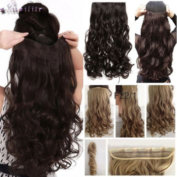 """S-noilite 28"""" One Piece Long Clip in Hair Extension half full head real natural remy hair Extentions Curly Synthetic Hairpiece"""