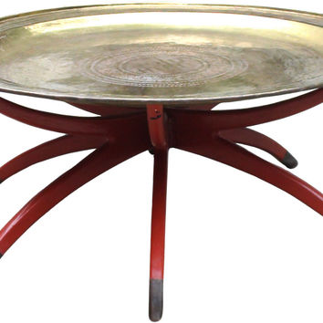 Brass & Lacquer Folding Tray Table