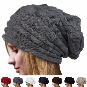 Unisex Charming Women Men Warm Winter Baggy Beanie Knit Crochet Oversized Hat Slouch Cap