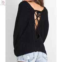 6 Colors Knitted Lace Up Back Sweater Pullover Jumper Long SleeveLoose Casual High Street Women Autumn Fall