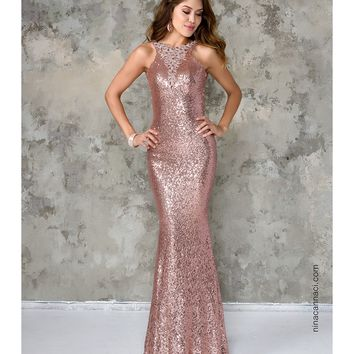 Nina Canacci 5084 Rose Pink Sexy Sequin Long Dress 2016 Prom Dresses