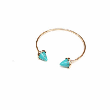 Gold Spiked Turquoise Bracelet