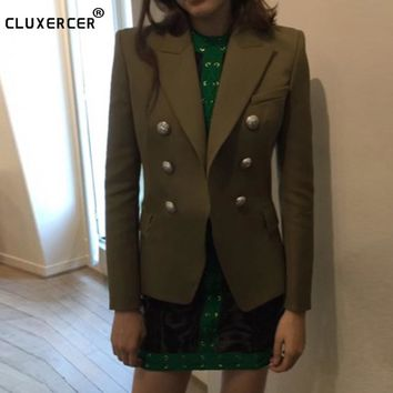 Newest Fashion 2017 Designer Jacket Blazer Women's Long Sleeve Double Breasted Gold Buttons Blazer Green