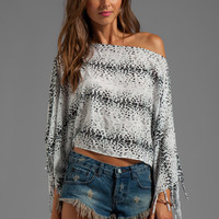 Indah Diani Fringe Finish Kimono in White Cheetah from REVOLVEclothing.com