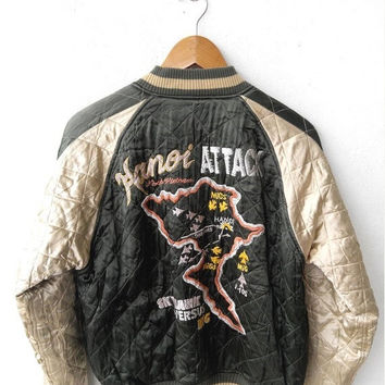 ON SALE SUKAJAN Japanese Vintage 1990's Yokosuka Hanoi Attack Eagles Embroidered Souvenirs Reversible Jacket