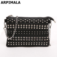 ARPIMALA 2017 Summer Rivet Clutch Women Bag Leather Handbags Small Messenger Bags Luxury Designer Chain Hand Bag Stud Crossbody