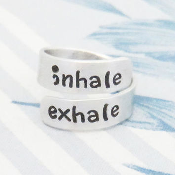 Motivational ring Inspirational message ring jewelry - inhale exhale ring - Suicide prevention depression awareness reminder