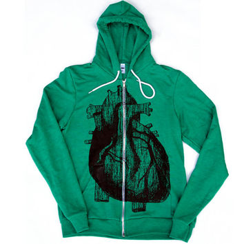 Mens ANATOMICAL HEART Tri-Blend Green Hoody - American apparel XS S M L xl