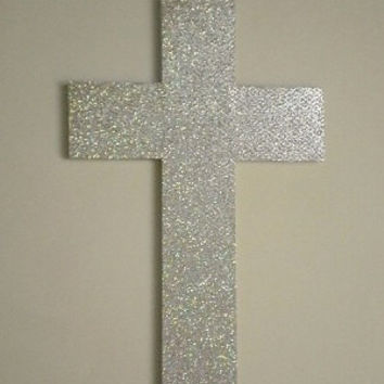 "GLITTER WALL CROSS - Sparkling Silver/Disco Ball Decorative Cross - 14"" x 9"""